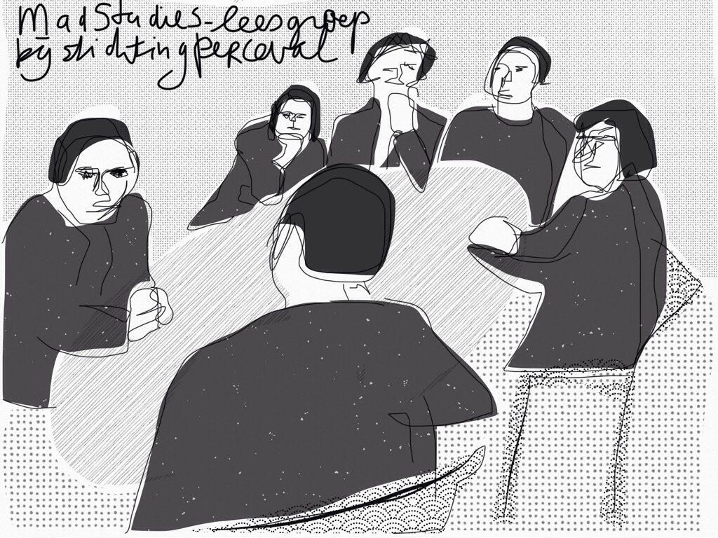 Tekening van zes mensen rond een ovalen tafel.